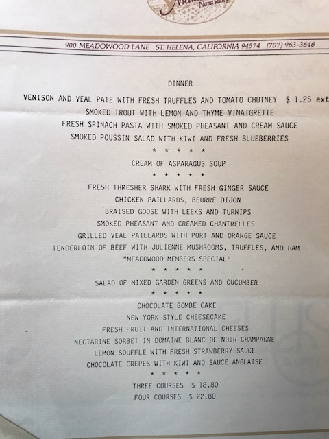 Old Menus from 1983 : Ruth Reichl